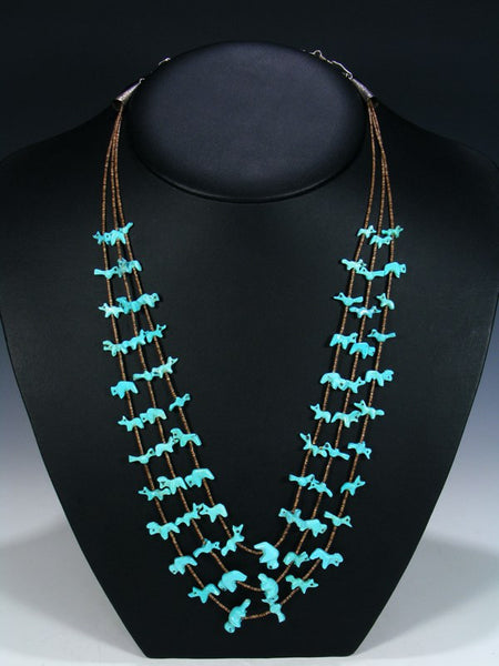 Vintage Native American Jewelry Turquoise Fetish Necklace