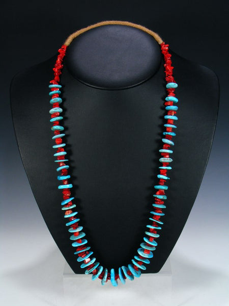 Native American Coral and Turquoise Single Strand Necklace