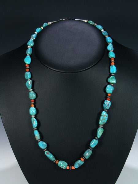 Native American Spiny Oyster and Turquoise Nugget Necklace