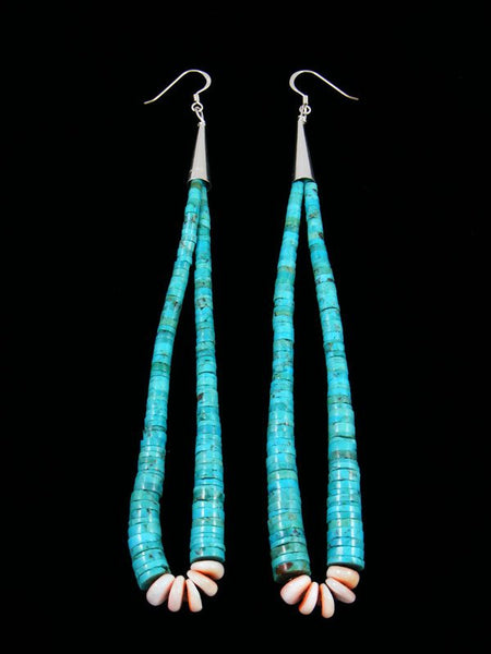 Long Navajo Turquoise and Spiny Oyster Dangle Earrings