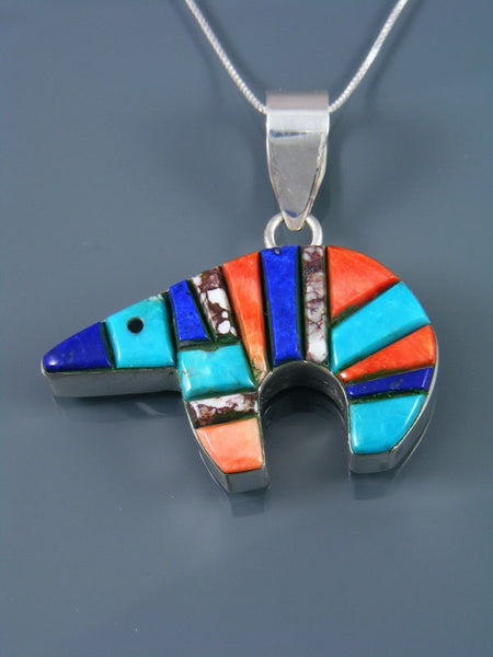 Navajo Sterling Silver Turquoise Cobblestone Inlay Reversible Bear Pendant