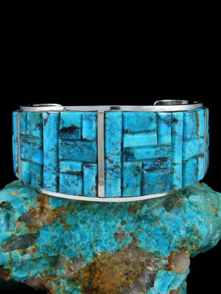 Navajo Turquoise Sterling Silver Mosaic Cuff Bracelet