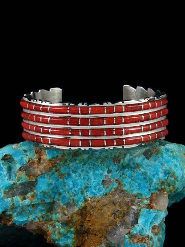 Sterling Silver Zuni Coral Inlay Bracelet