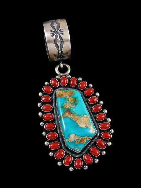 Native American Jewelry Blue Gem Turquoise and Coral Cluster Pendant