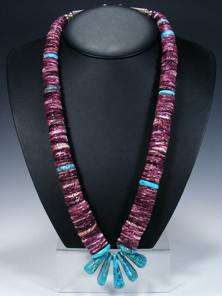 Native American Santo Domingo Turquoise and Purple Spiny Oyster Necklace