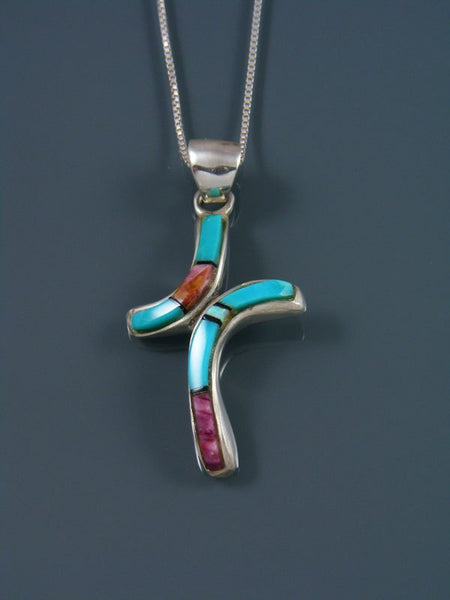 Navajo Necklace Inlay Turquoise and Spiny Oyster Cross Pendant