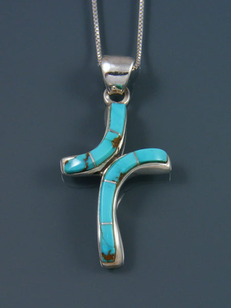 Navajo Necklace Inlay #8 Turquoise Cross Pendant