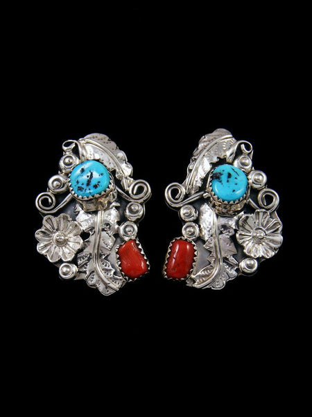 Native American Sterling Silver Coral and Turquoise Post Earrings