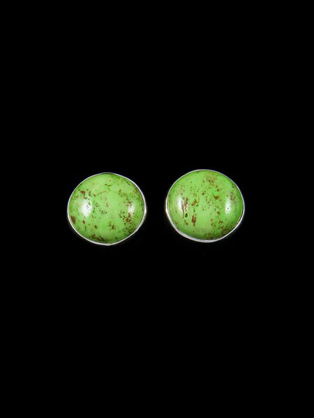 Navajo Green Gaspeite Sterling Silver Post Earrings