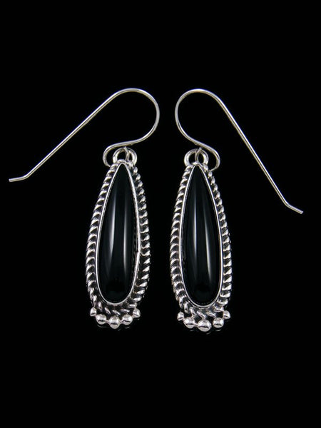 Navajo Sterling Silver Black Onyx Dangle Earrings