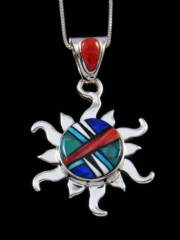 Native American Inlay Turquoise and Spiny Oyster Sun Pendant