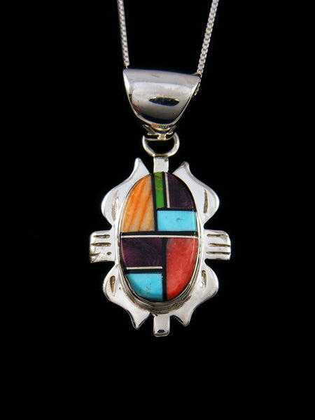 Mosaic Spiny Oyster and Turquoise Navajo Inlay Pendant