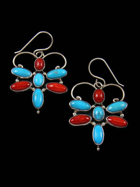 Navajo Turquoise and Coral Dragonfly Dangle Earrings