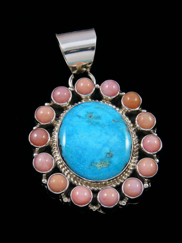 Native American Indian Jewelry Kingman Turquoise Cluster Pendant