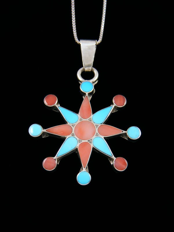 Native American Zuni Inlay Pink Shell and Turquoise Star Pendant
