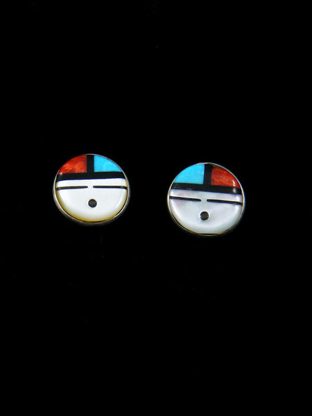 Zuni Inlay Stud Sunface Post Earrings