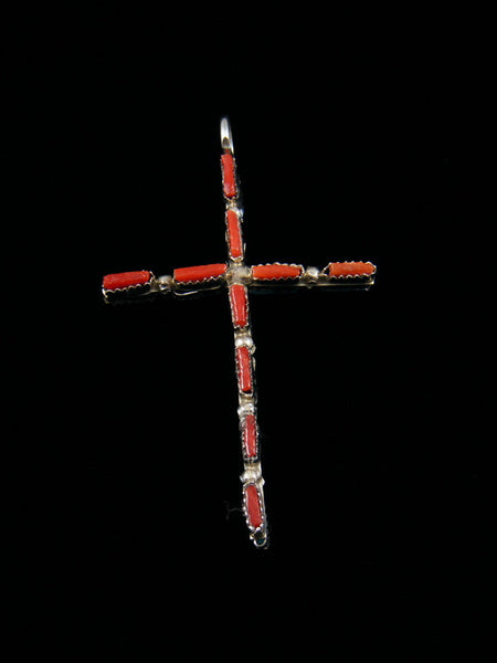 Sterling Silver Zuni Reversible Inlay Cross Necklace