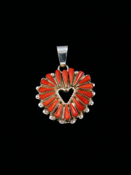 Native American Zuni Needlepoint Coral Heart Pendant