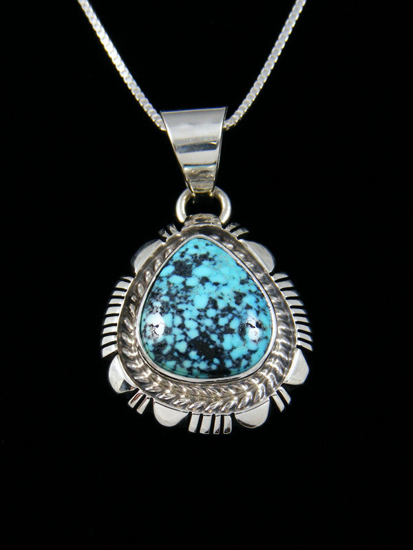 Native American Natural Kingman Black Web Turquoise Pendant