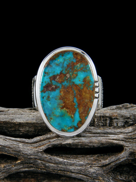 Natural Blue Gem Turquoise Ingot Ring, Size 7 1/2