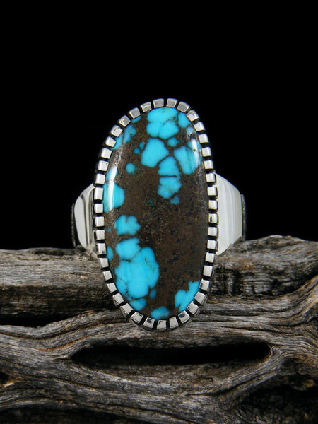 Natural Cloud Mountain Turquoise Sterling Silver Ingot Ring, Size 7 1/2