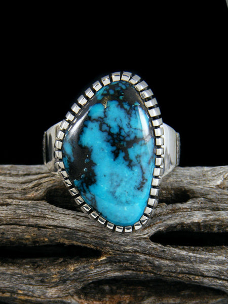 Natural Cloud Mountain Turquoise Sterling Silver Ingot Ring, Size 8