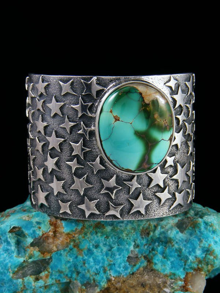Native American Tufa Cast Sterling Silver Royston Turquoise Bracelet