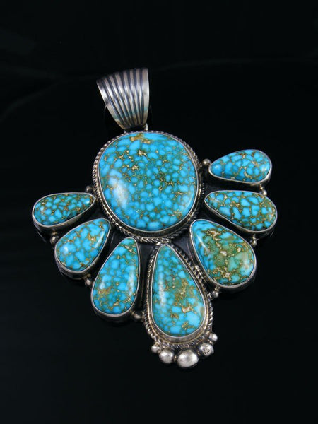 Native American Sterling Silver Turquoise Mountain Pendant