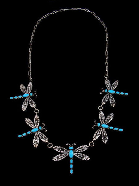 Native American Turquoise Dragonfly Link Chain Necklace