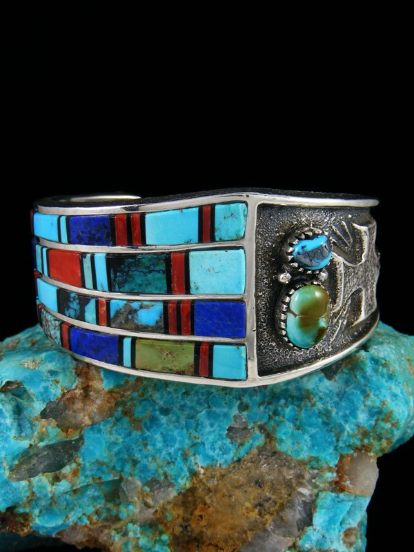 Native American Indian Jewelry Tufa Cast Turquoise and Coral Cuff Bracelet