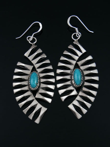 Native American Turquoise Sterling Silver Dangle Earrings
