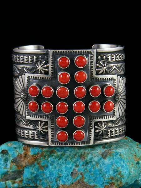 Native American Natural Coral Cross Cuff Bracelet