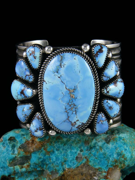 Native American Sterling Silver Golden Hill Turquoise Cuff Bracelet