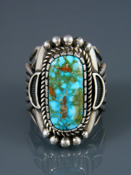 Natural Kingman Sterling Silver Turquoise Ring, Size 10 3/4