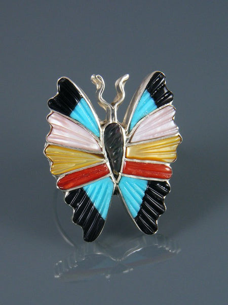 Native American Sterling Silver Zuni Inlay Butterfly Ring, Size 10 1/2