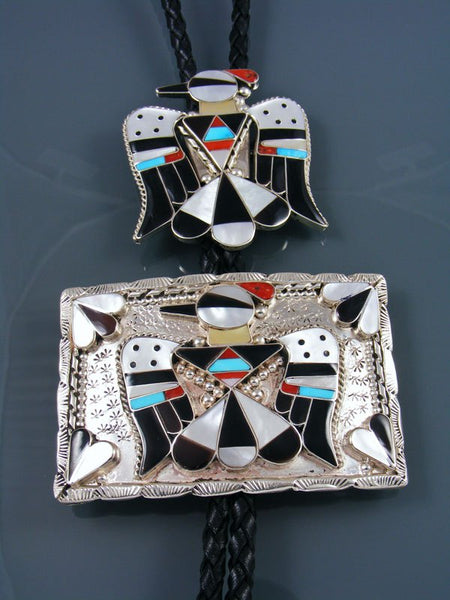 Sterling Silver Zuni Inlay Thunderbird Belt Buckle and Bolo Tie