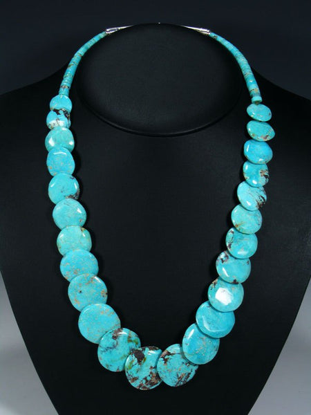 Native American Turquoise Disc Necklace Set