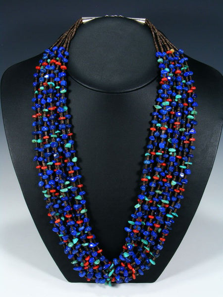 Native American Lapis and Coral Heishi Ten Strand Necklace