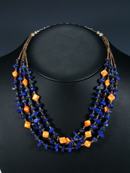 Native American Lapis and Spiny Oyster Heishi Four Strand Necklace