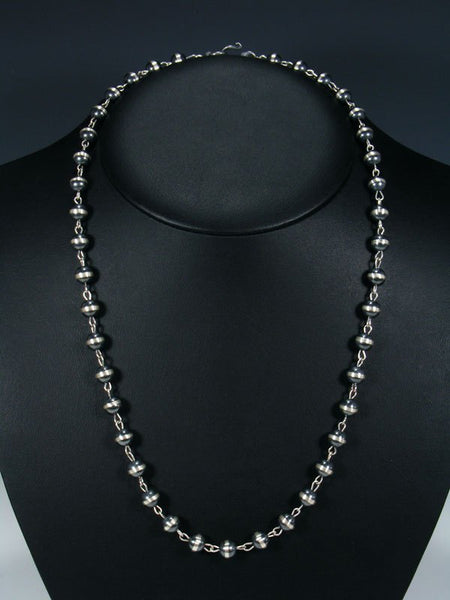 Native American Sterling Silver Beaded Necklace