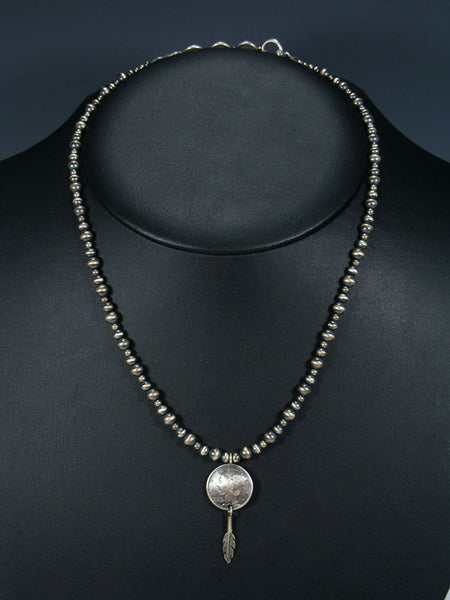Native American Sterling Silver Coin Bead Necklace