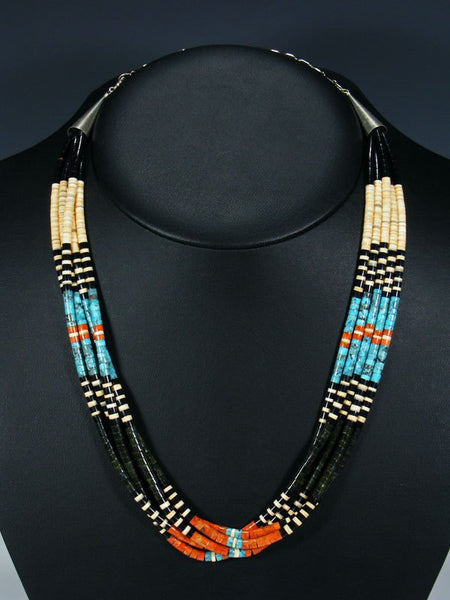 Five Strand Native American Santo Domingo Turquoise and Serpentine Necklace