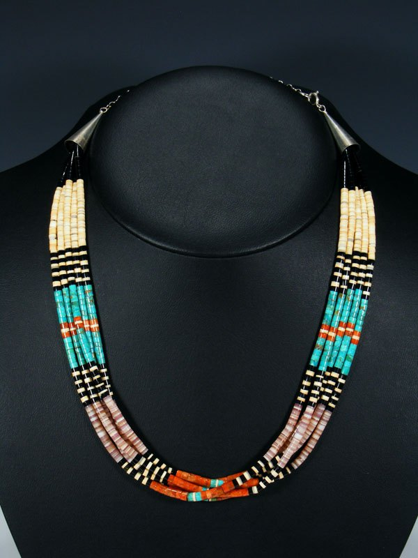 Five Strand Native American Santo Domingo Turquoise and Pink Shell Necklace