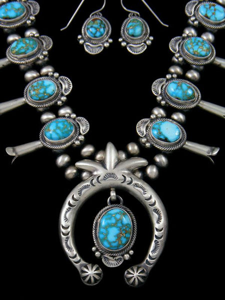 Natural Turquoise Mountain Sterling Silver Squash Blossom Necklace Set