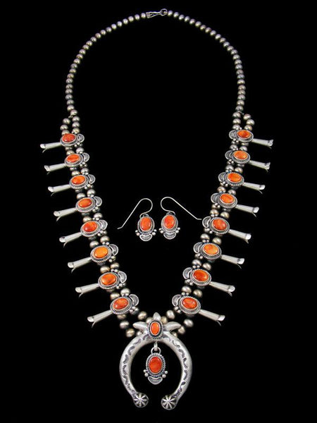 Navajo Spiny Oyster Sterling Silver Squash Blossom Necklace Set
