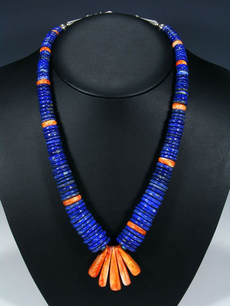 Native American Santo Domingo Spiny Oyster and Lapis Necklace