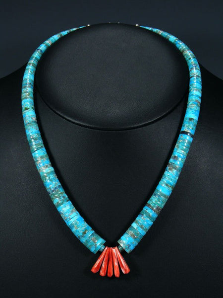 Native American Santo Domingo Turquoise and Spiny Oyster Necklace
