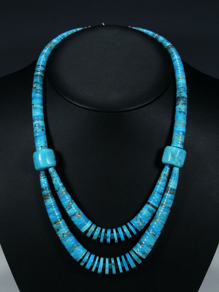 Native American Santo Domingo Double Strand Turquoise Necklace