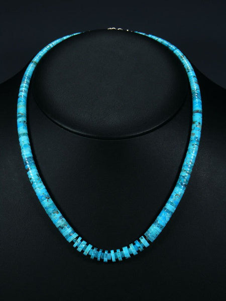 Native American Santo Domingo Graduated Turquoise Necklace