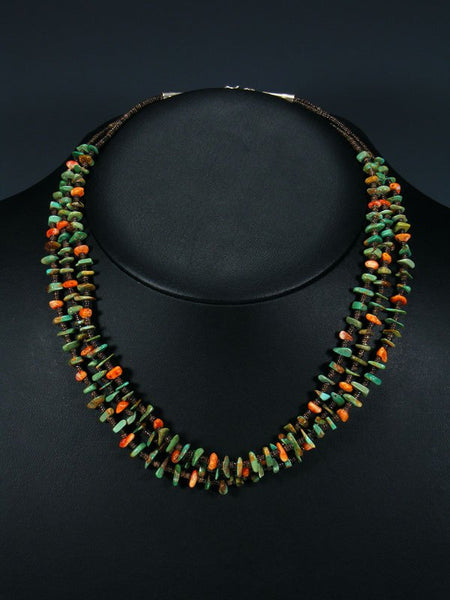 Native American Turquoise and Spiny Oyster Triple Strand Necklace